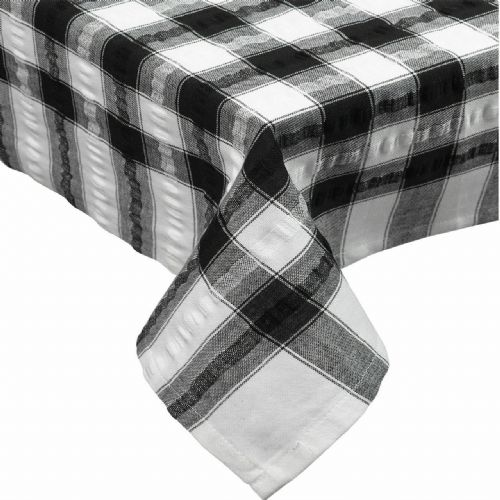 Black Seersucker Checked Tablecloth 100 % Cotton